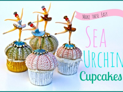 DIY  Cupcake  Craft, ornaments with Sea Urchins, rhinestones and glitter!
