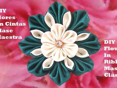 DIY flores en cintas clase maestra - flowers in ribbons master class