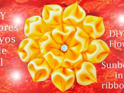 DIY flores rayos de sol en cintas   flowers sunbeams in ribbons