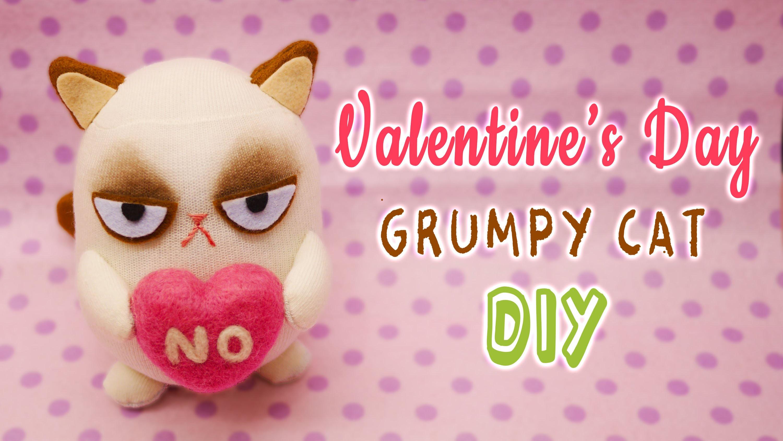 DIY Grumpy Cat on Valentine's Day - Sock Plushie Tutorial