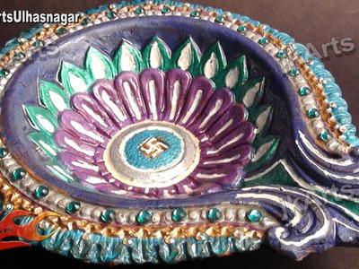 DIY How to color and decorate Diwali Diya -  JK Arts 412