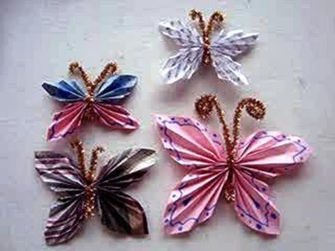 DIY How to fold a Paper Butterfly, Simple Kids Crafts, paper folding, paper crafts, group activity