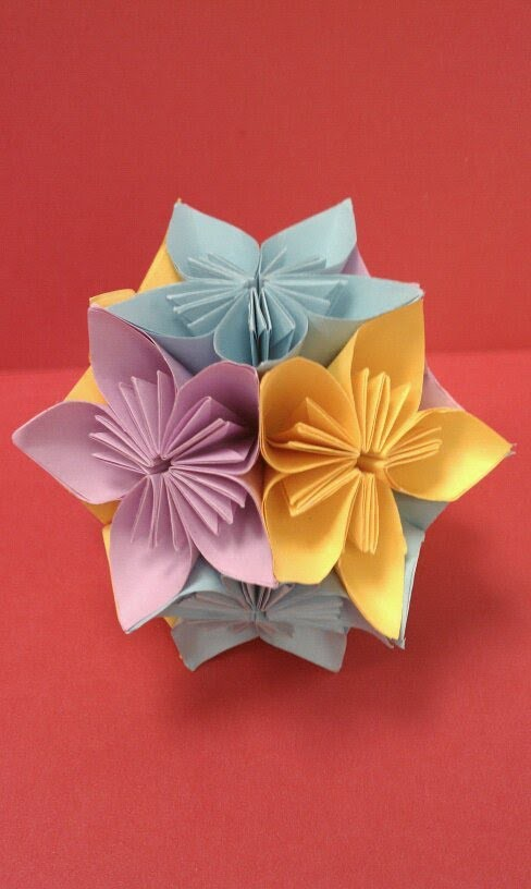 DIY How to fold an origami kusudama flower ball (arts.crafts) - EASY - Easter Crafts