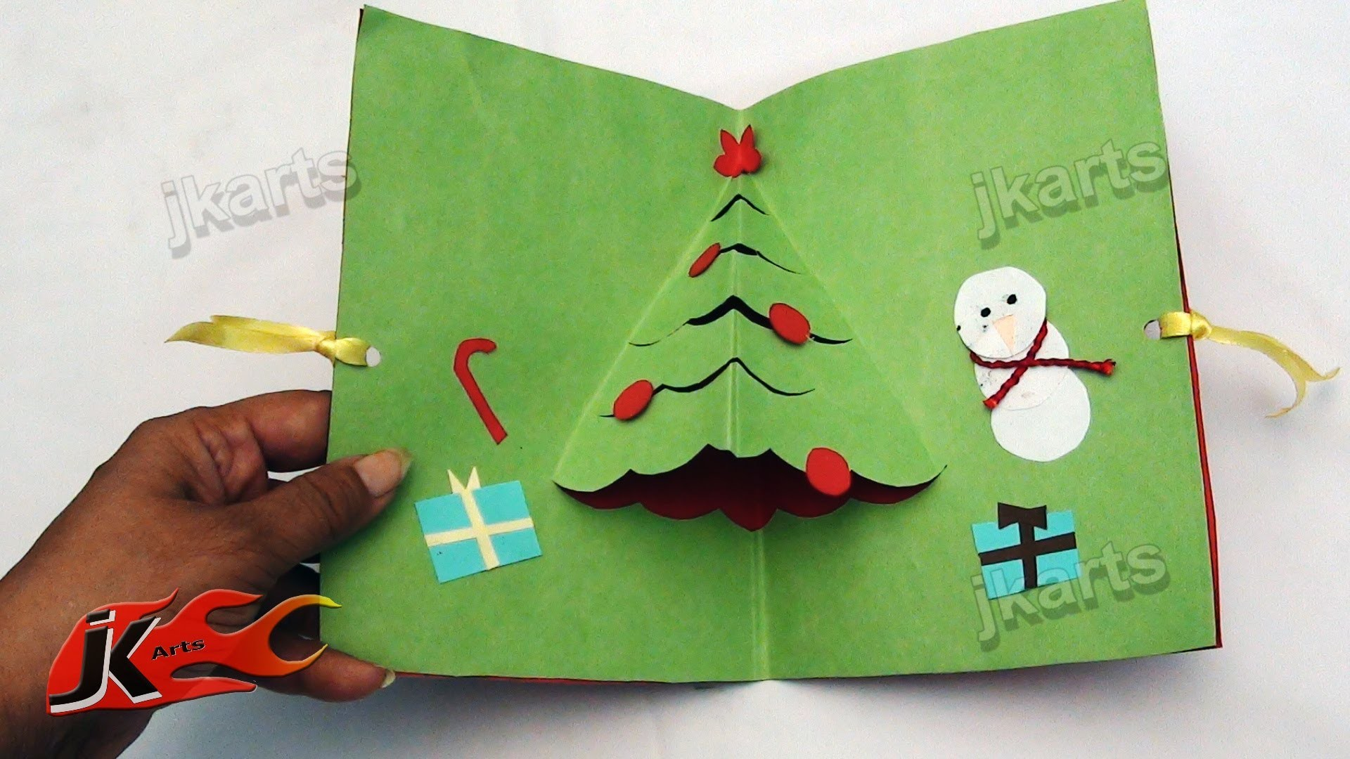 DIY How To Make Easy Christmas Tree pop up Greeting Card (School Project for Kids) - JK Arts 106