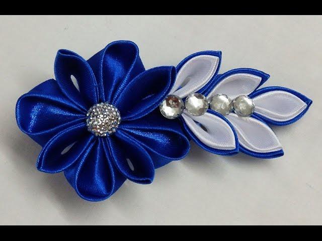 DIY Kanzashi flower hairclip,how to make, kanzashi flower tutorial,kanzashi flores de cinta