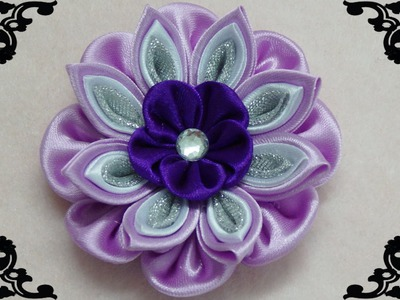 DIY kanzashi flower, how to make ribbon flower,kanzashi tutorial
