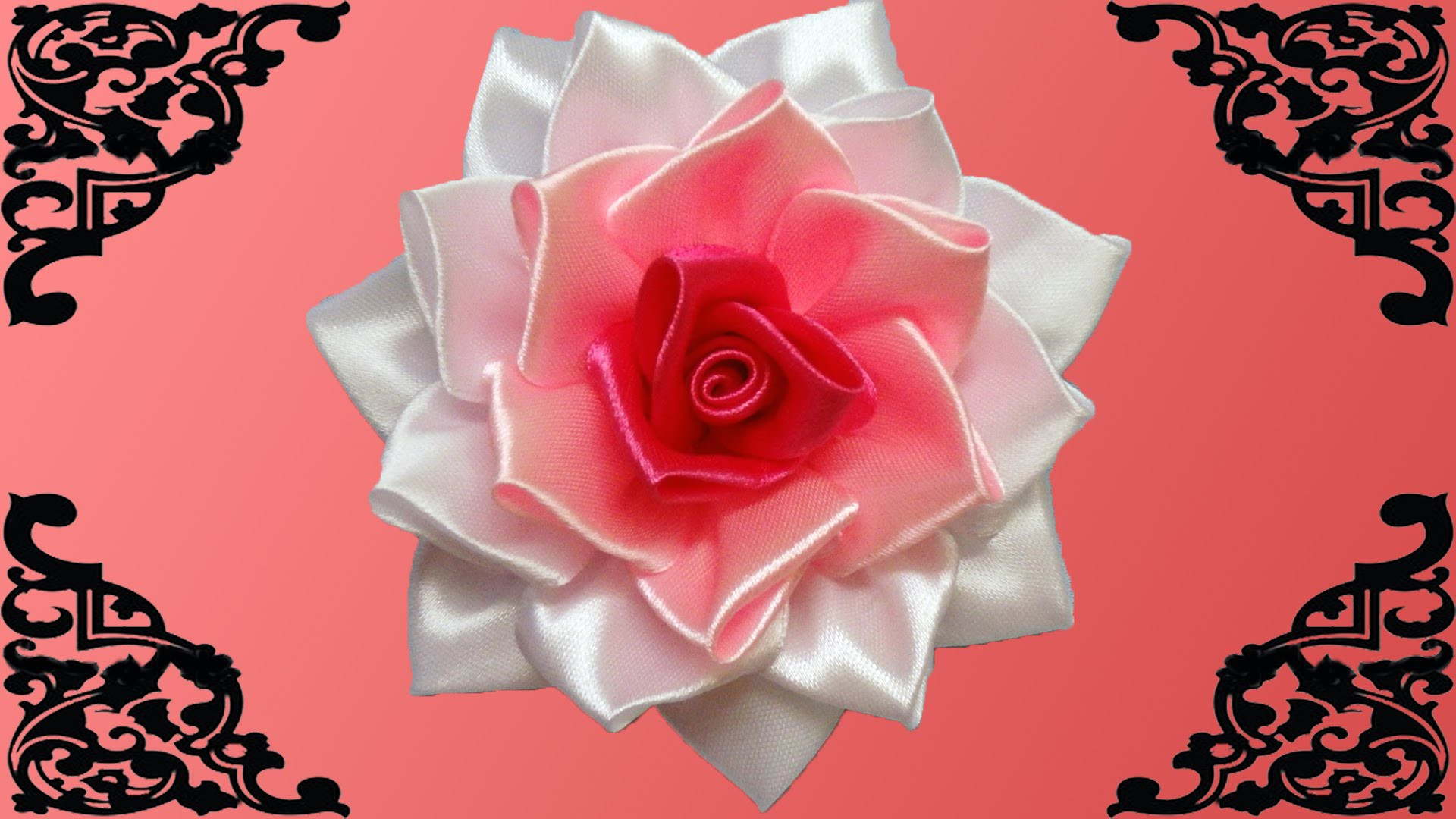 DIY kanzashi flower, how to make ribbon rose,kanzashi rose,kanzashi flores de cinta