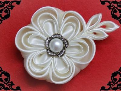DIY kanzashi flower,wedding kanzashi flower accessoire tutorial, flores de cinta