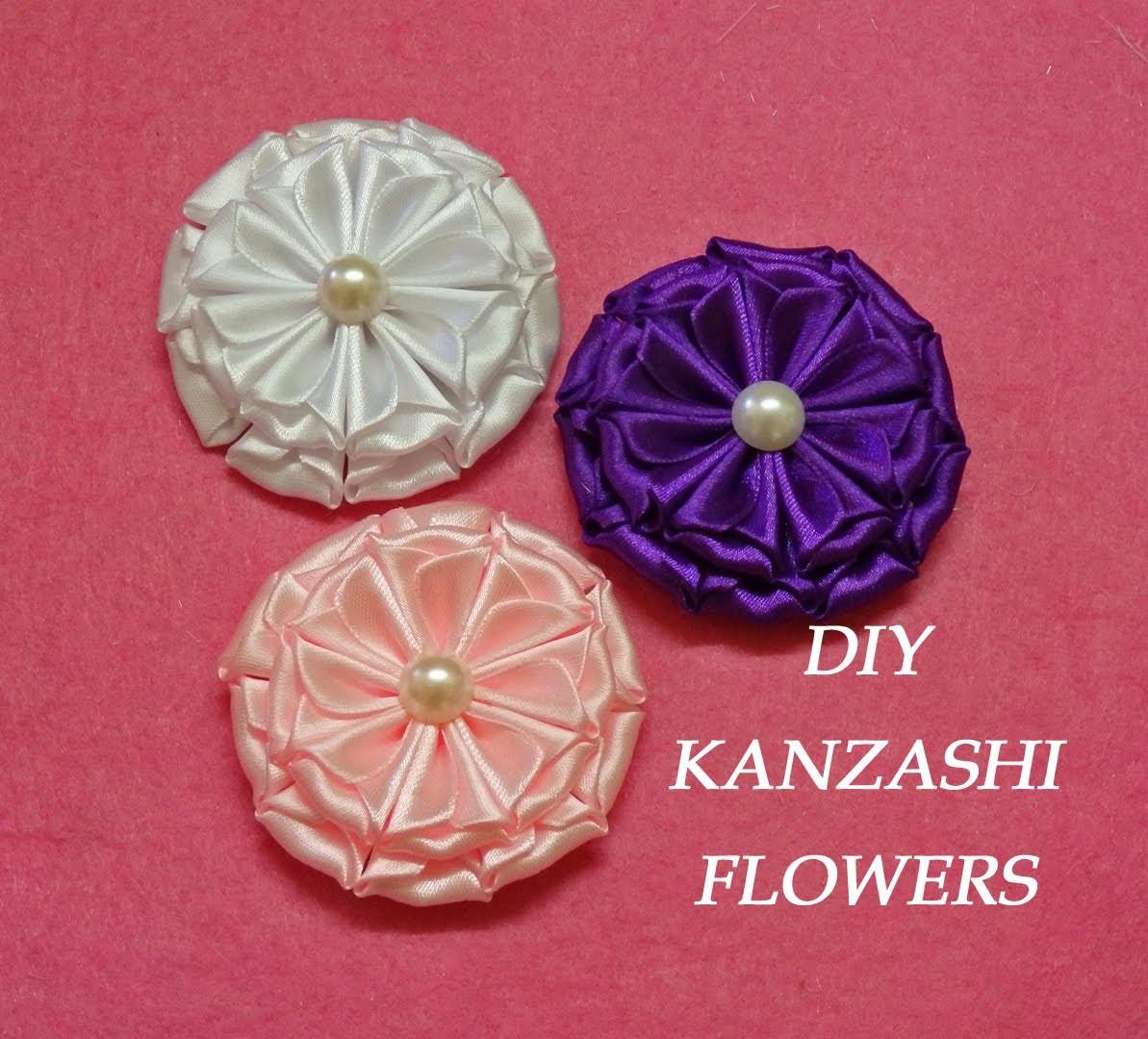 DIY kanzashi flowers,kanzashi tutorial,how to make,easy,kanzashi flores de cinta