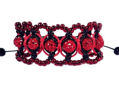 "DIY ❤: Macrame bracelet ""Shambala"" with beads. Ажурный макраме браслет ""Шамбала"" с бисером"