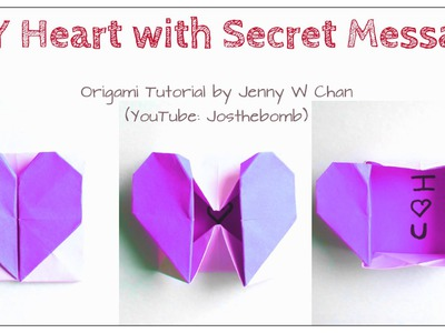 DIY Origami Heart Box. Envelope, Secret Message - Valentine's Day Crafts- Pop-Up Heart - Kids,Easy