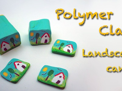 Diy Polymer clay. Fimo tutorial. How to make a country landscape cane