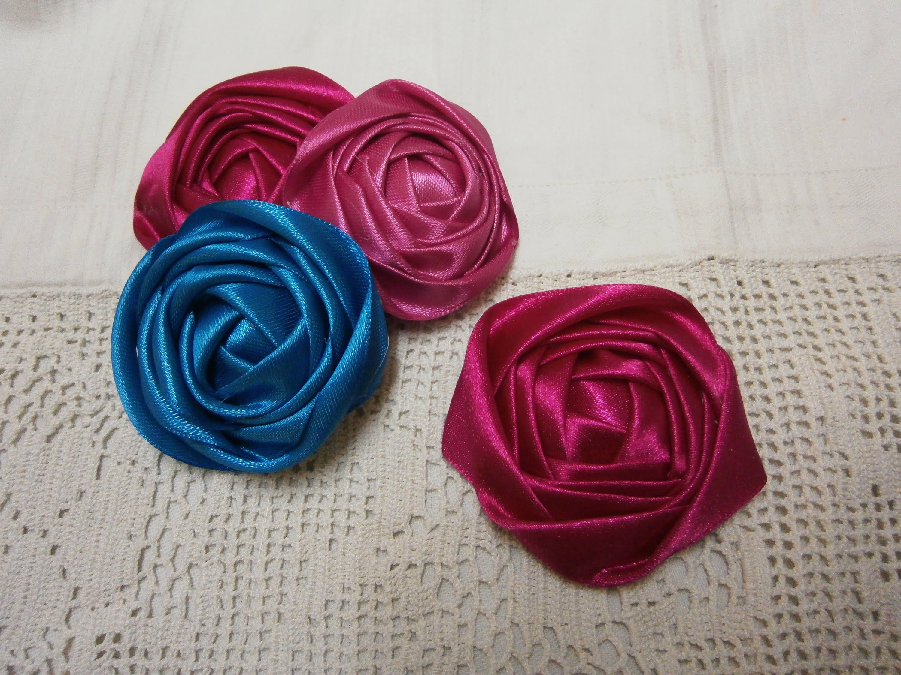DIY ribbon rose tutorial,How to,fabric flowers,easy
