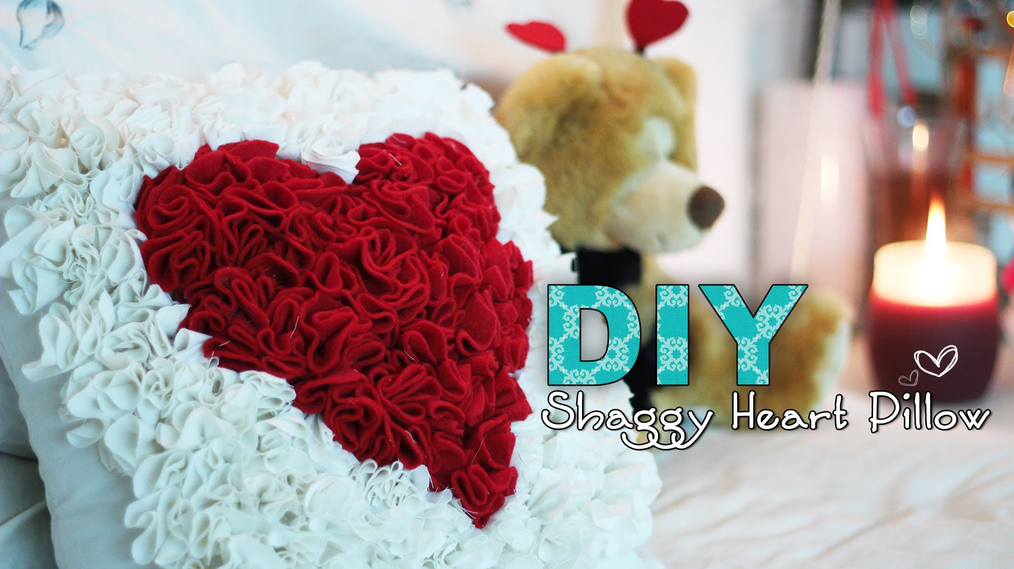 DIY Shaggy Heart Pillow - Perfect for Valentines Day!