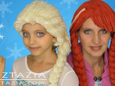 DIY Tutorial Yarn Wig Hair Disney Frozen Elsa Anna Inspired Braid Wigs Children Kids Braids Costume