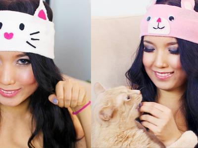 DIY Under $5 : Animal Winter Knitted Headbands ( Cat & Bear)