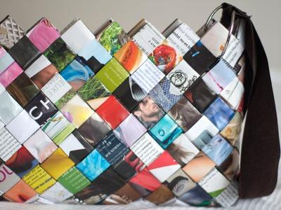 DIY Woven Paper Bag - Sac en Magazine
