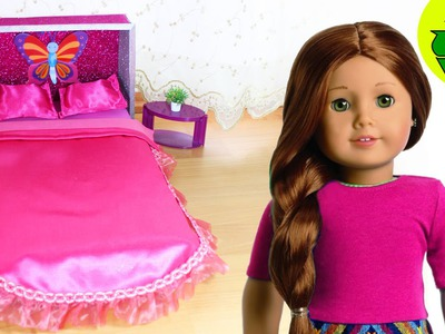 Doll Crafts: How to make an American Girl Doll Bed and Bedding - Easy - No Sew