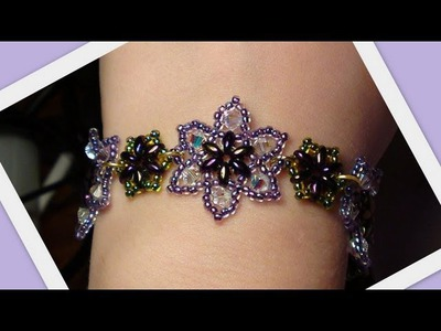 Easy Beaded Flower Bracelet Beading Tutorial by HoneyBeads (Photo tutorial)