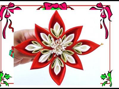 Flores Kanzashi Navideñas - Christmas kanzashi flowers