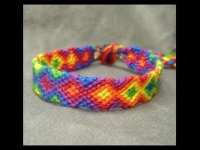► Friendship Bracelet Tutorial 5 - Intermediate - The Rainbow Arrowhead Pattern