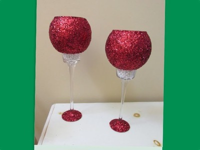 Glitter & Pearl Candleholders   Dollar Store Makeover How To