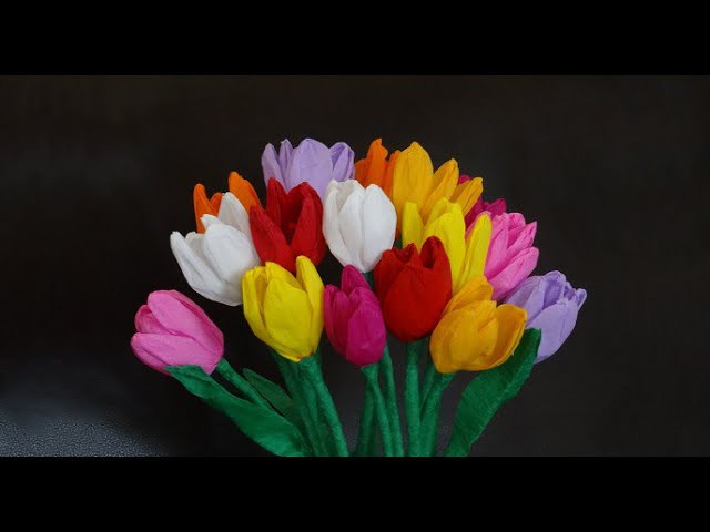 How to make beautiful paper tulip flowers. DIY Valentine's day craft