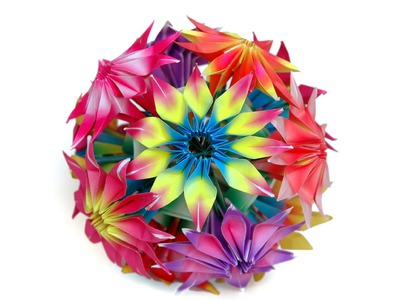 How to make origami Gloriosa flowers and kusudama
