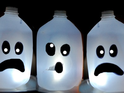♥ KIDS HALLOWEEN CRAFT : CUTE Ghost Milk Jug . Easy Halloween decorations ♥
