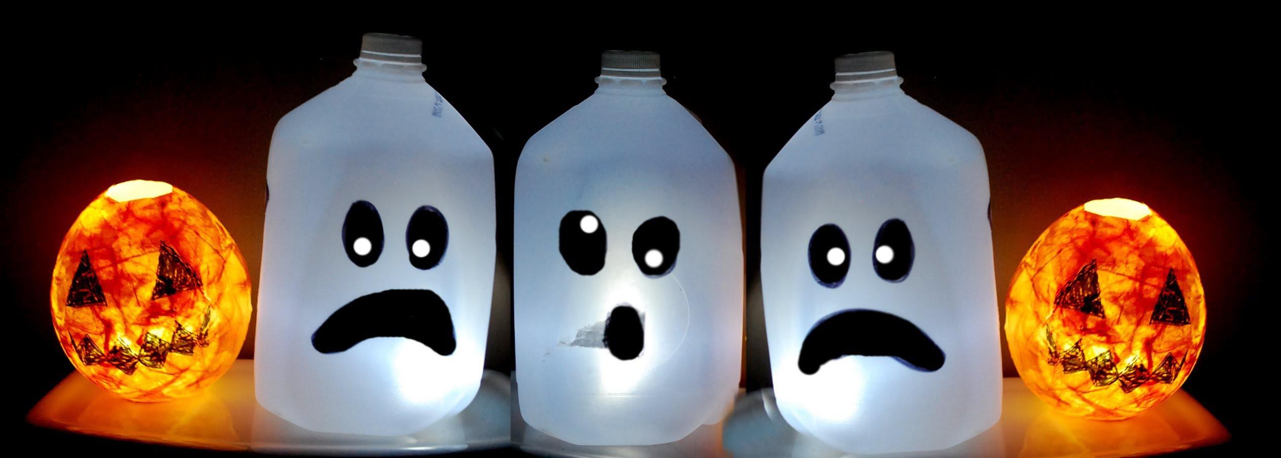 ♥ KIDS HALLOWEEN CRAFT : CUTE Ghost Milk Jug . Easy Halloween decorations ♥
