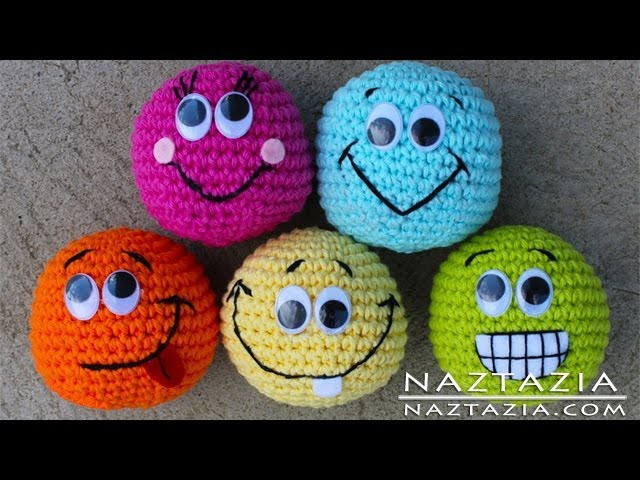 Learn How to Crochet - Basic Beginner Amigurumi Smiley Face Ball Toy SC2TOG INVDEC Safety Eyes