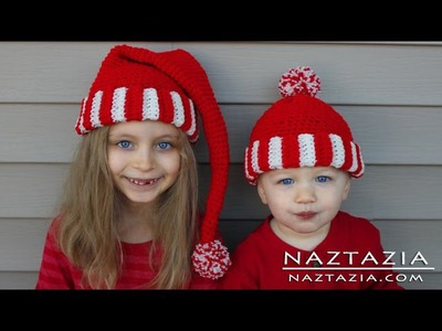 Learn How to Crochet Easy Santa Hat Elf Pixie Beanie for Kids, Adults (Change Colors with Yarn)