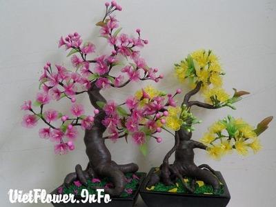 Mẫu Hoa mai Hoa đào bằng vải voan cho ngày tết (1080HD) - vietflower.info