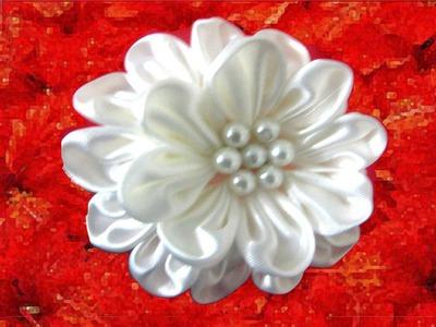 Moños en telas para el cabello flores blancas hermossas