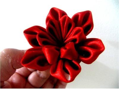 Moños  para el cabello en cintas flor estrellita roja