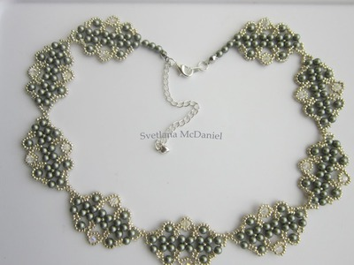 Necklace with Swarovski pearls and bicones. DIY . Step by Step . Колье Сваровских .