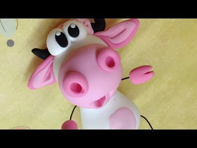 Polymer clay.Fimo Tutorial- pink cow.vaquinha rosa