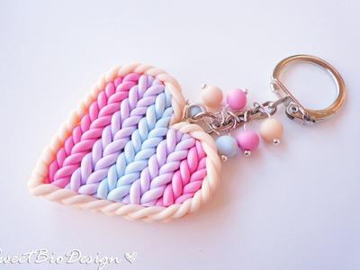 Porta chiavi in fimo effetto maglia - Key holder heart knit effect