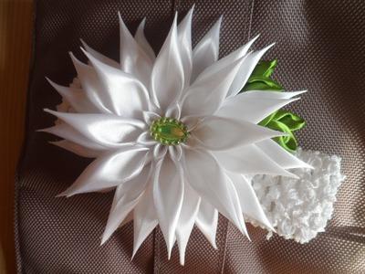 Праздничная Астра . Повязочка для волос Канзаши. aster flowers kanzashi