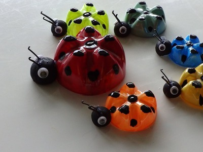 Recycled Art Ideas for Kids: Ladybug's Family from Plastic Bottles