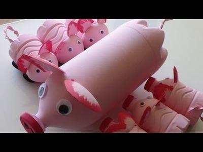 Recycled Art Ideas for Kids: Pig's Family from Plastic Bottles