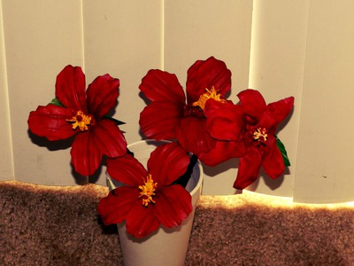 Recycled DIY: Hibiscus flowers made with waste plastic water bottles