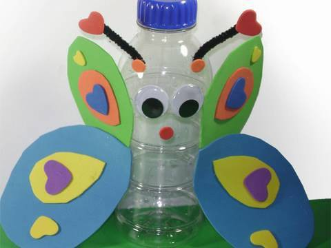 Recycled Kids Crafts: Butterfly in a Bottle or a Bottle Butterfly? - EP