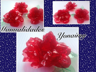ROSAS  HECHAS   CON BOTELLAS DE AGUA RECICLADAS.- ROSES MADE FROM RECYCLED BOTTLES.