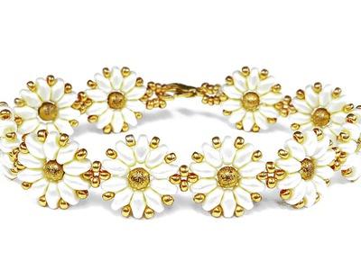 Tutorial: flower bracelet [easy] SuperDuo beads. Цветочный браслет из супердуо бисера ЛЕГКО!