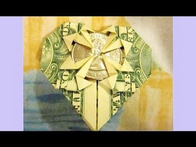 Valentine's Day Crafts - How to fold HEART from $1 & Quarter, MONEY ORIGAMI DOLLAR - Gift Idea