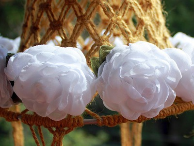 """""""Веночек для невесты"""" (цветы из шифона). Video tutorial """"A headband for the bride"""""""
