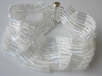 White Bracelet with Seed Beads11\0. Easy to make .Браслет из белого бисера .