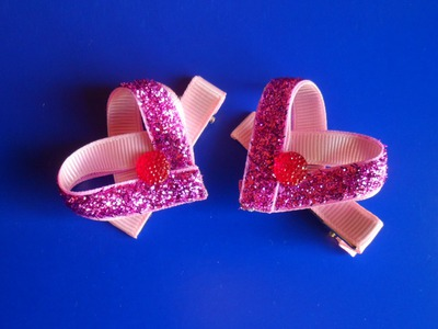 Заколка : Валентинка Канзаши. Valentine kanzashi barrette