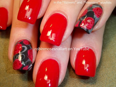 2 Nail Art Tutorials | Easy Accent Nail Art For Beginners | Red Rose Nail Design